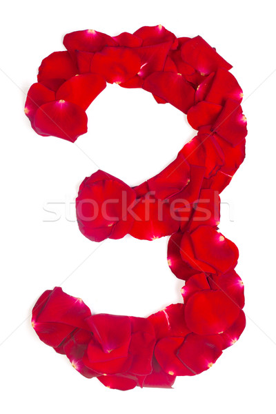 number 3  made from red petals rose on white Stock photo © bloodua