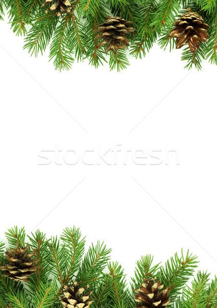 クリスマス フレームワーク 雪 孤立した 白 緑 ストックフォト © bloodua