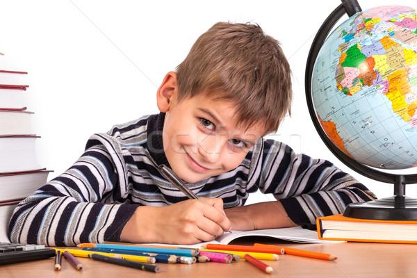 Cute écolier isolé blanche sourire école Photo stock © bloodua