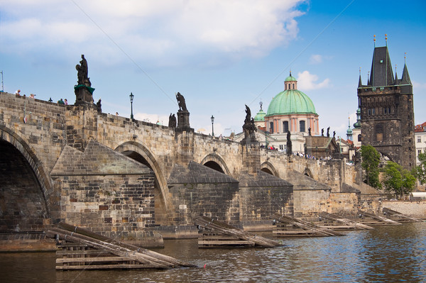 Stok fotoğraf: Köprü · Prag · kış · şehir · kar · kilise
