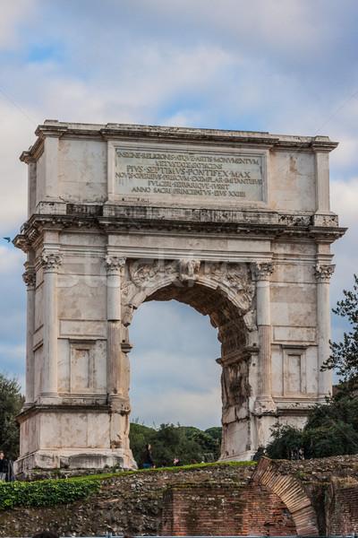 Stock fotó: Római · romok · Róma · antik · kék · ég · nap