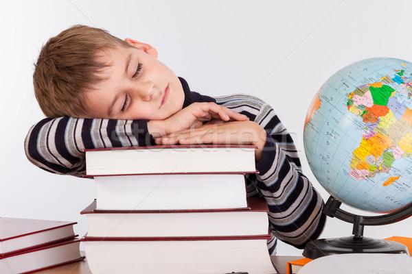 Stanco scolaro isolato bianco libro pen Foto d'archivio © bloodua