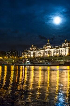Nacht Ansicht Burg Brücke Mausoleum beleuchtet Stock foto © bloodua