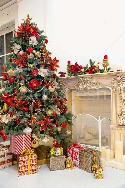 Christmas tree in modern interior living room Stock photo © bloodua