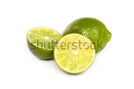 Stock fotó: Egy · egész · citrus · fél · fehér · izolált