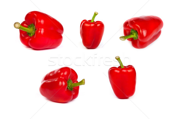 set of red bell sweet peppers isolated on white Stock photo © bloodua