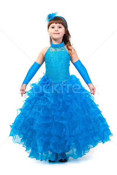 08a4b9f82503 Portrait of cute smiling little girl in princess dress stock photo ...