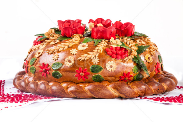 Ukrainian festive bakery Holiday Bread on white Stock photo © bloodua