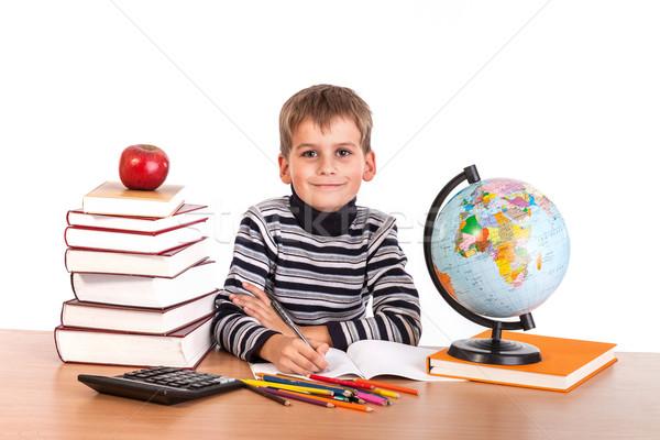 Cute школьник изолированный белый школы яблоко Сток-фото © bloodua