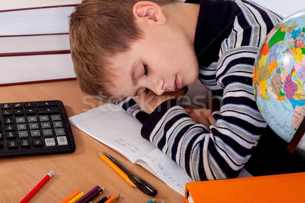 устал школьник изолированный белый книга пер Сток-фото © bloodua