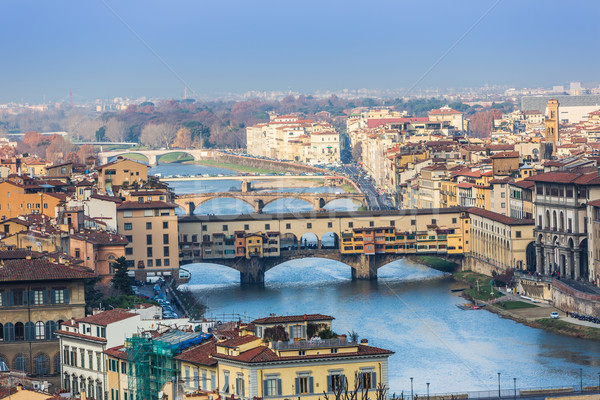 Houses, Arno River and bridges of Florence, Tuscany, Italy Stock photo © bloodua