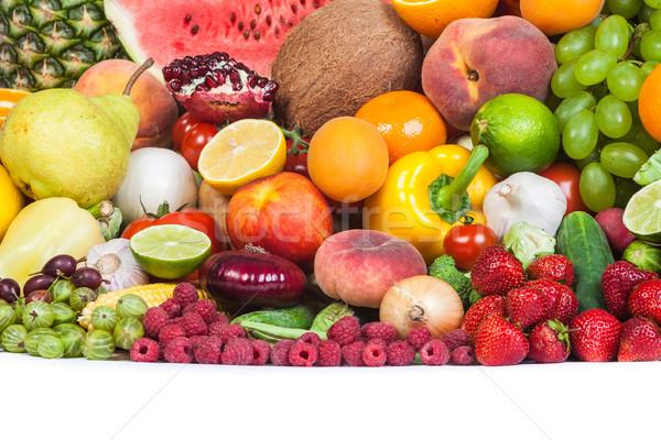 Enorme grupo legumes frescos frutas isolado branco Foto stock © bloodua