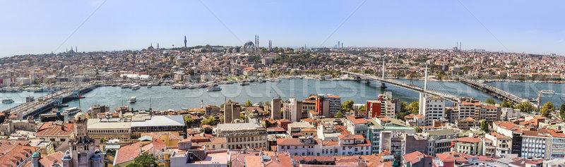Foto stock: Istambul · panorâmico · ver · torre · Turquia · dourado