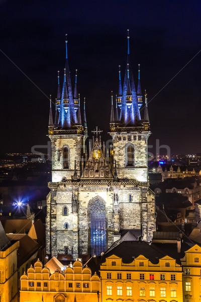 Templom hölgy este Prága Csehország tornyok Stock fotó © bloodua
