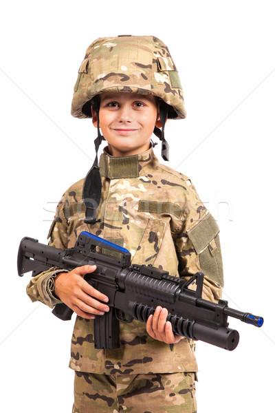 молодые солдата винтовка подобно изолированный Сток-фото © bloodua