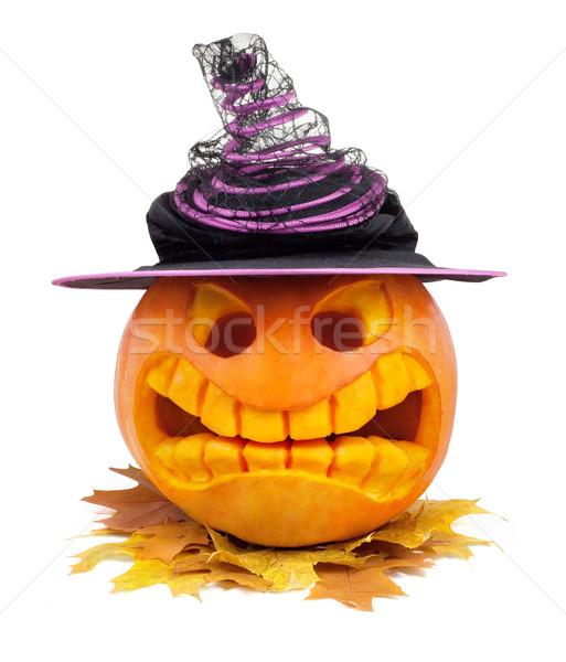 Halloween tök kalap levél izolált fehér arc Stock fotó © bloodua