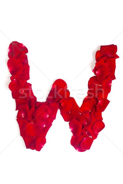 List w czerwony płatki wzrosła biały alfabet Zdjęcia stock © bloodua