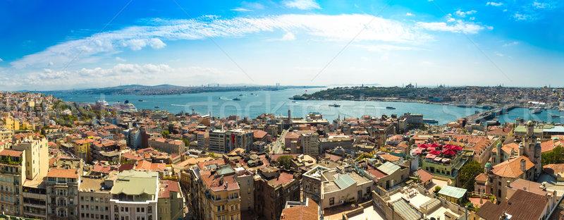 Stock fotó: Isztambul · panorámakép · kilátás · torony · Törökország · arany