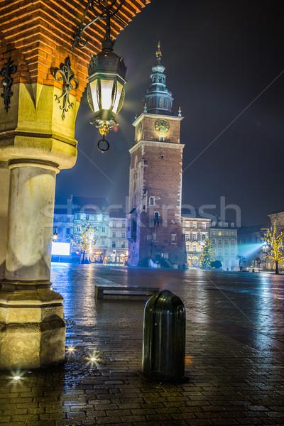 Stock fotó: Lengyelország · Krakkó · piac · tér · éjszaka · öreg