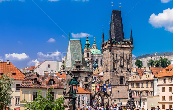 Karlov or charles bridge in Prague in summer Stock photo © bloodua