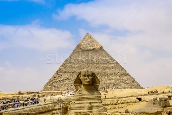 Sphinx and the Great Pyramid in the Egypt Stock photo © bloodua