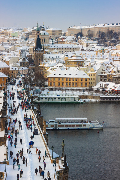 Karlov or Charles bridge in Prague in winter Stock photo © bloodua