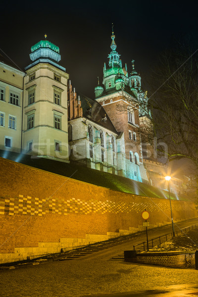 Pologne cracovie château vieux Night City bâtiment Photo stock © bloodua