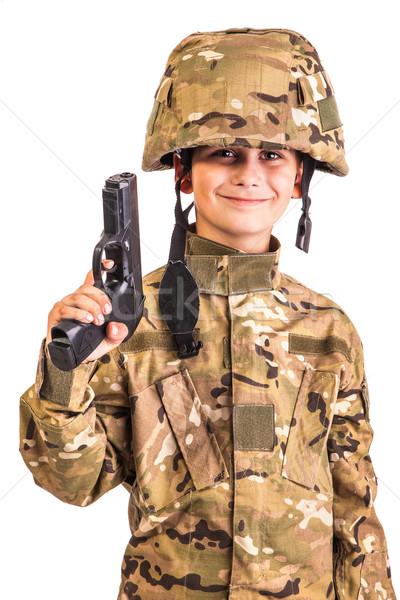 Stok fotoğraf: Genç · asker · tabanca · gibi