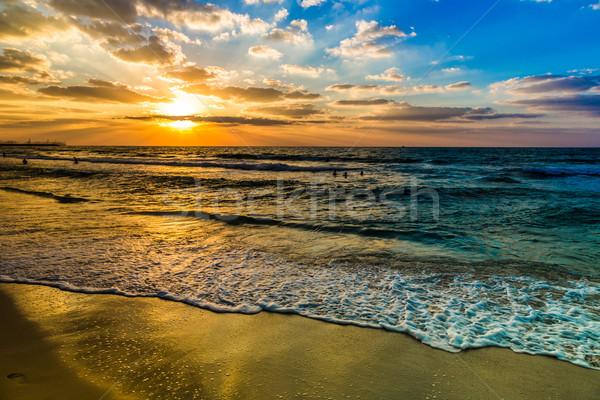 Dubai sea and beach, beautiful sunset at the beach Stock photo © bloodua
