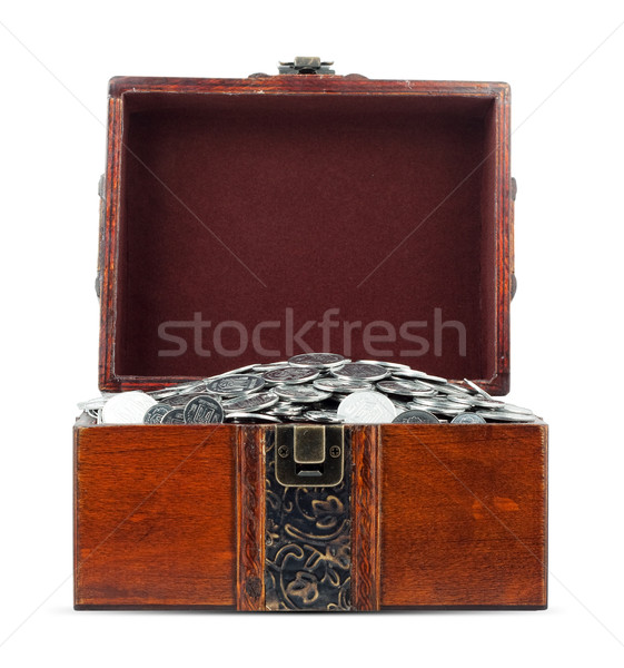 Kincsesláda izolált fehér háttér pénzügy zár Stock fotó © bloodua