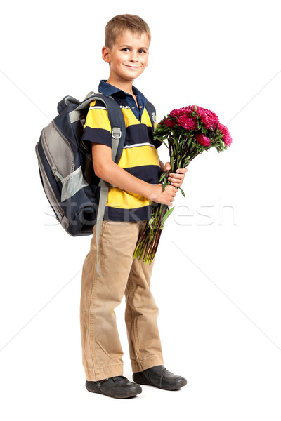 Schoolboy is holding flowers. Back to school Stock photo © bloodua