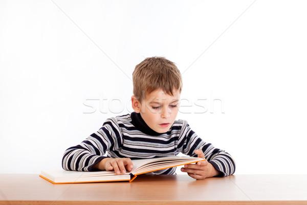 ストックフォト: かわいい · 男子生徒 · 読む · 図書 · 孤立した · 白
