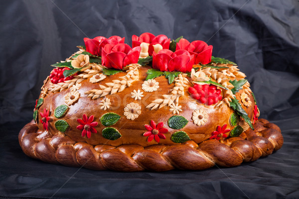 Ukrainian festive bakery Holiday Bread on black Stock photo © bloodua