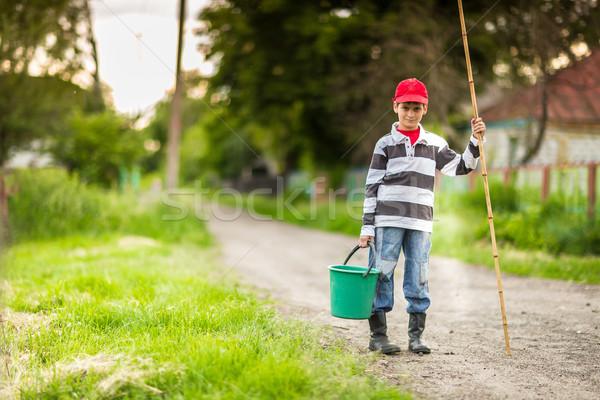 рыбалки реке фото мало Kid Сток-фото © bloodua
