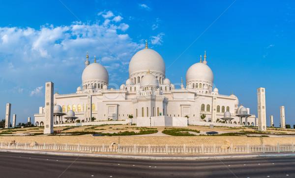 Moskee midden oosten Verenigde Arabische Emiraten Abu Dhabi stad hemel Stockfoto © bloodua