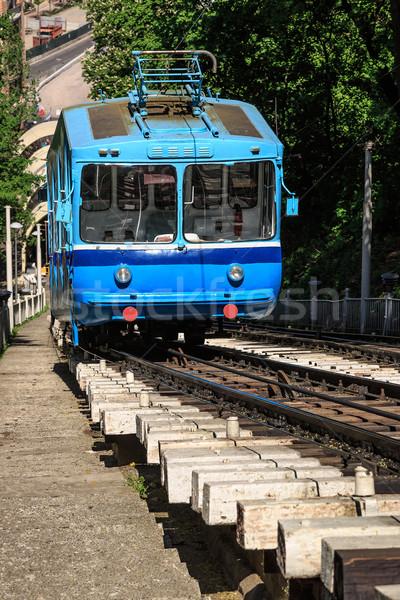 Stock photo: Funicular trains moving on the hill