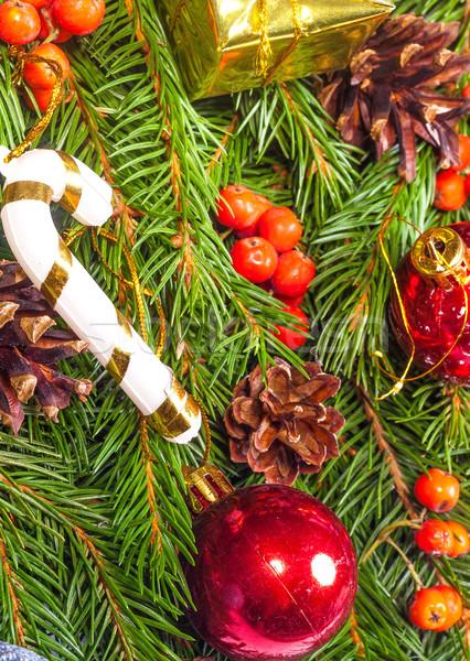 Karácsony váz golyók díszítések izolált fehér Stock fotó © bloodua