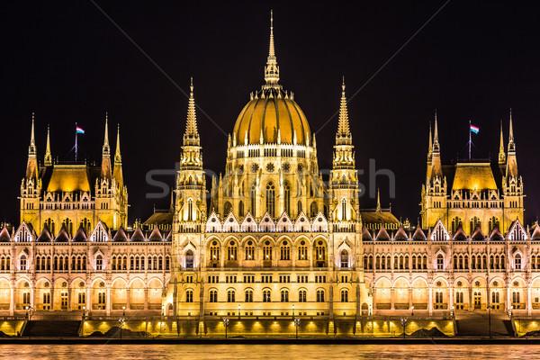 Будапешт парламент здании Венгрия сумерки ночь Сток-фото © bloodua