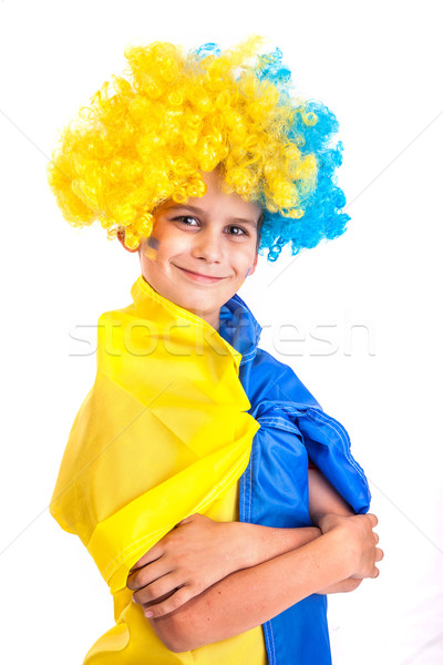 Football fan with  ukrainian flag on a white background Stock photo © bloodua