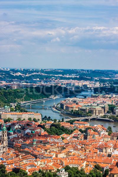 Cityscape Прага лет реке мостами небе Сток-фото © bloodua