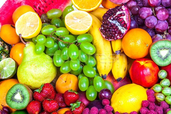 Hatalmas csoport friss gyümölcsök izolált fehér Stock fotó © bloodua