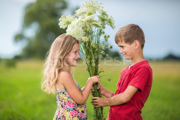Spring. Boy gives  girl a bouquet of flowers . Stock photo © bloodua