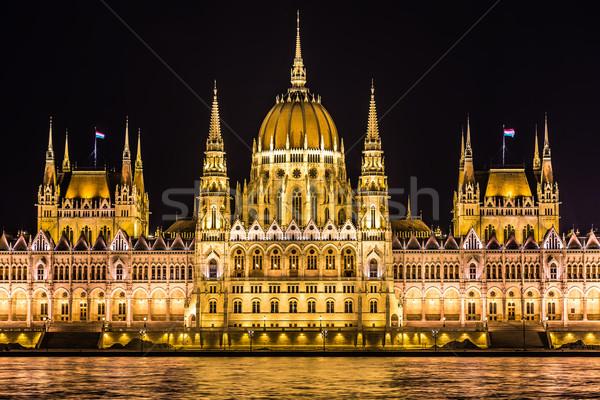 Budapest parlament épület Magyarország szürkület éjszaka Stock fotó © bloodua