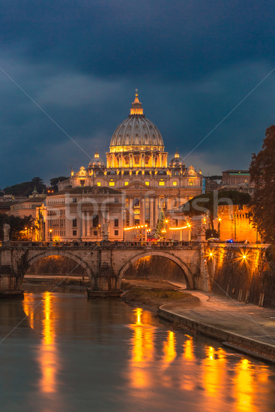 Stock photo: Vatican and river Tiber in Rome - Italy at night .