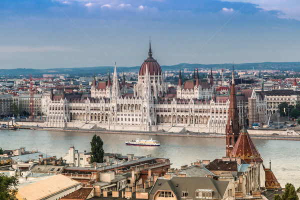Catena ponte ungherese parlamento Budapest Ungheria Foto d'archivio © bloodua