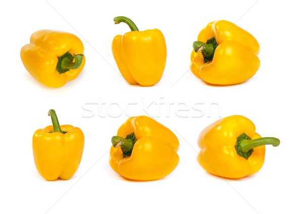 set of yellow bell sweet peppers isolated on white Stock photo © bloodua