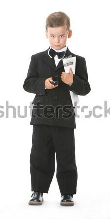 Stok fotoğraf: Erkek · cep · telefonu · gazete · yalıtılmış · beyaz