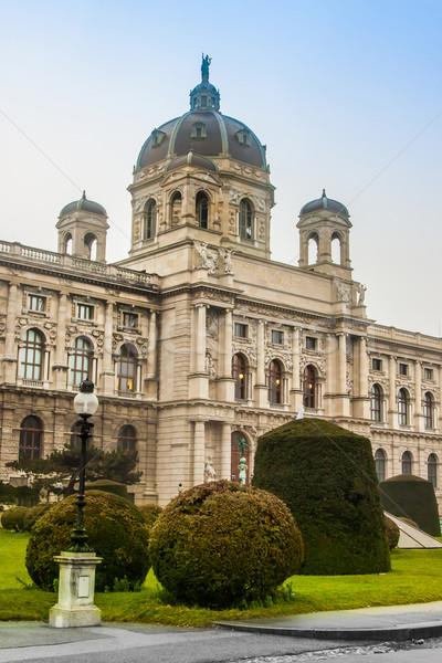 Természetes történelem múzeum Bécs szökőkút égbolt Stock fotó © bloodua