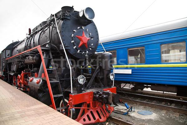 Сток-фото: старые · пар · поезд · станция · Vintage · двигатель