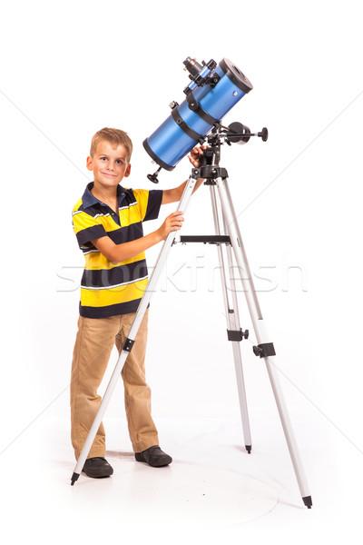 子 見える 望遠鏡 白 星 ストックフォト © bloodua